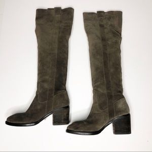 BCBGeneration Taupe Suede OTK or Slouchy Boots 7.5